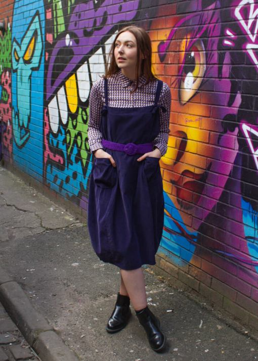 Thunder Egg - Purple Oversized Corduroy Pinafore Dress