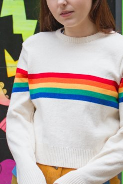 Run & Fly - Ecru Rainbow Cropped Jumper