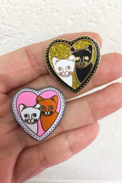 Rosie Wonders - Cat Love Pin in Gold
