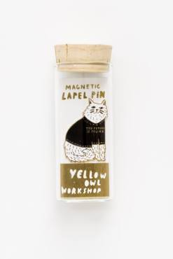 Yellow Owl Workshop - The Future is Feline Magnetic Lapel Pin