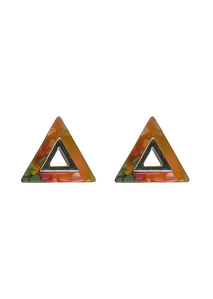 Big Metal London - Orange Resin Triangle Earrings
