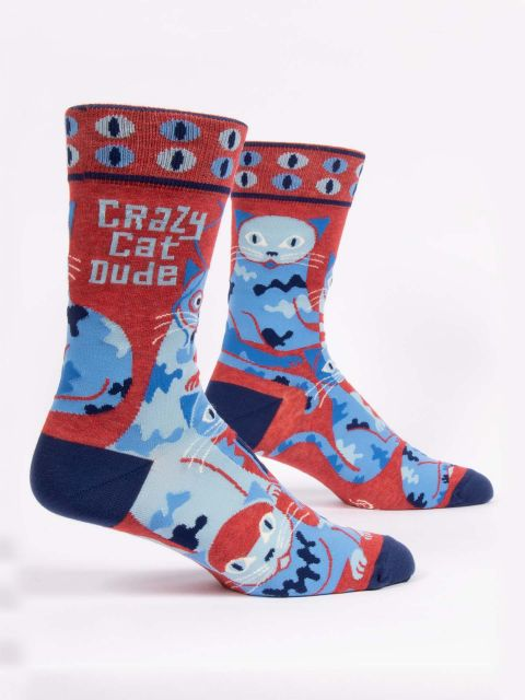 Blue Q - Crazy Cat Dude Men's Crew Socks