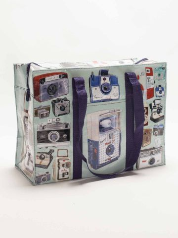 Camera Shoulder Tote by Blue Q Sturdy large shoulder bag with retro camera illustrations Chunky navy zip around fastening