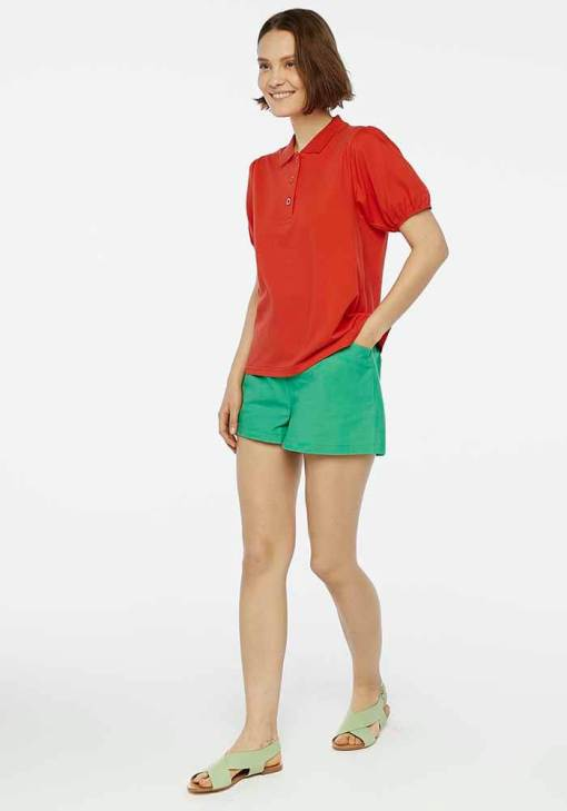 Compañia Fantastica - Red Puff Sleeve Polo Shirt