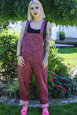 Run & Fly - Unisex Twill Oversized Pink Leopard Print Dungarees