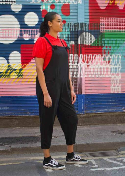 Thunder Egg - Black Jersey Dungarees