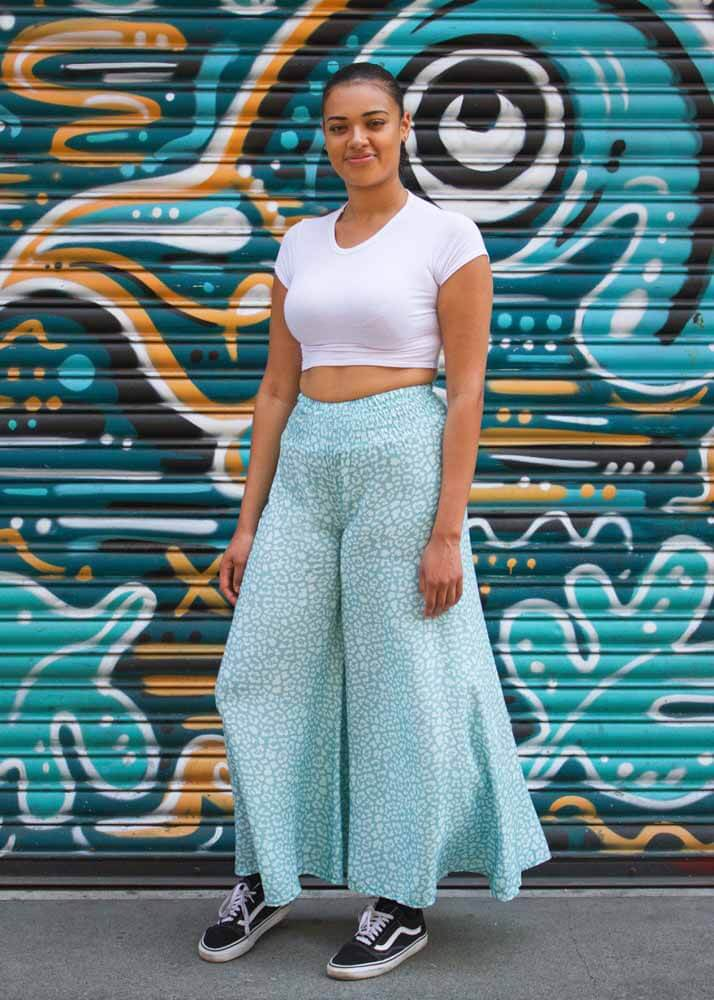 Thunder Egg - Light Turquoise Leopard Print Palazzo Pants