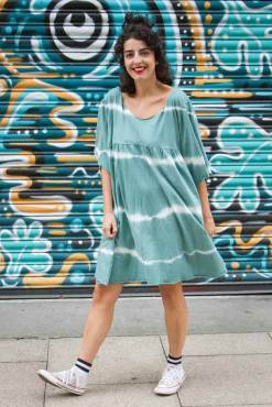 Thunder Egg - Teal Tie Dye Oversized Smock Dress