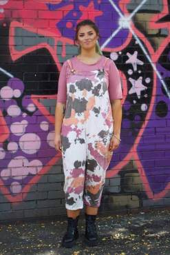 Thunder Egg - Pink & Orange Tie Dye Jersey Dungarees