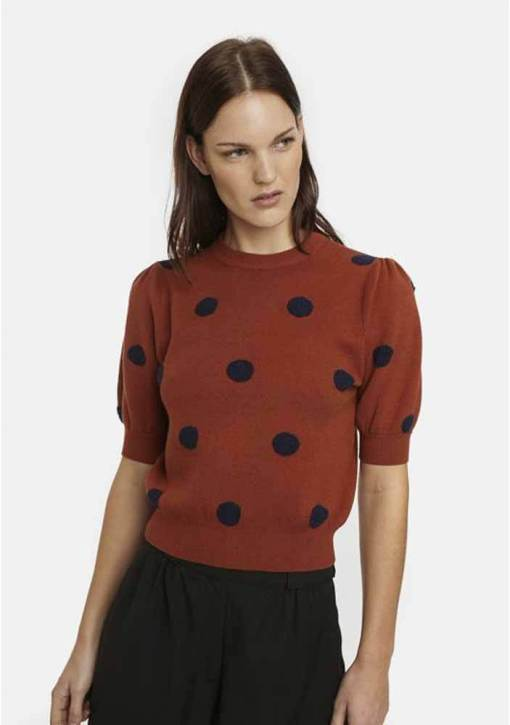 Compañia Fantastica - Brown and Navy Spotty Jumper