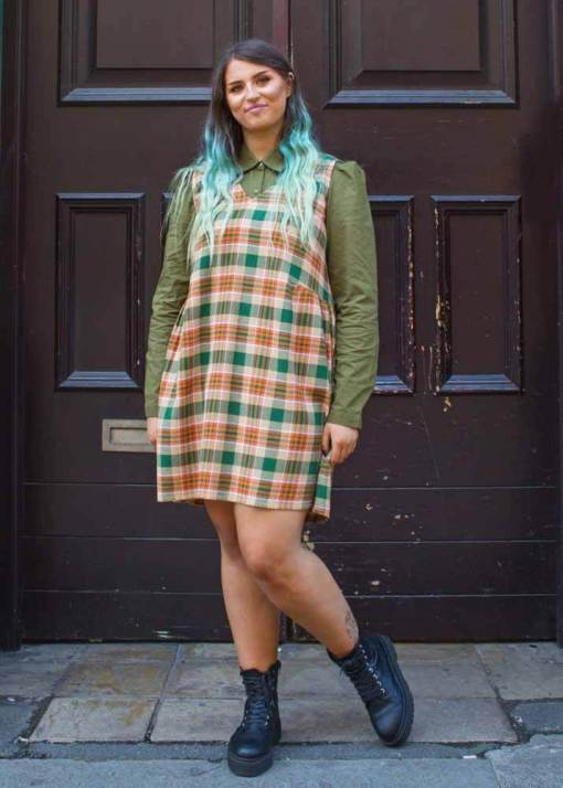 Compañia Fantastica - Brown and Green Checked Pinafore Dress