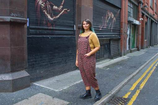 Thunder Egg - Red Leopard Print Jersey Dungarees