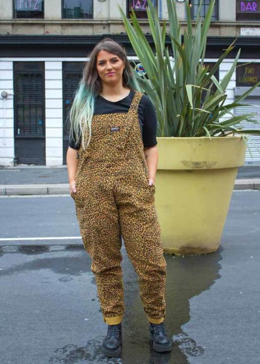 Run & Fly - Unisex Corduroy Leopard Dungarees