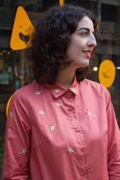 Daphnea - Orange & Gold Embroidered Bee Shirt