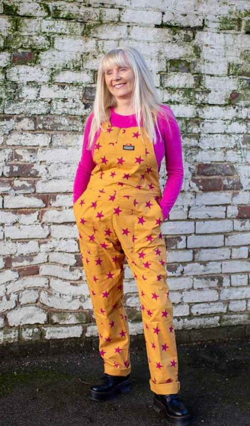 Run & Fly - Unisex Stretch Twill Oversized Pink & Yellow Star Dungarees