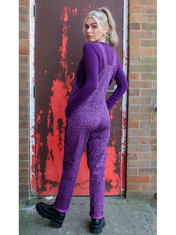 Run & Fly - Unisex Stretch Twill Purple Leopard Print Dungarees