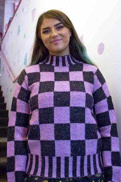 Noisy May - Pink & Black Checked Jumper