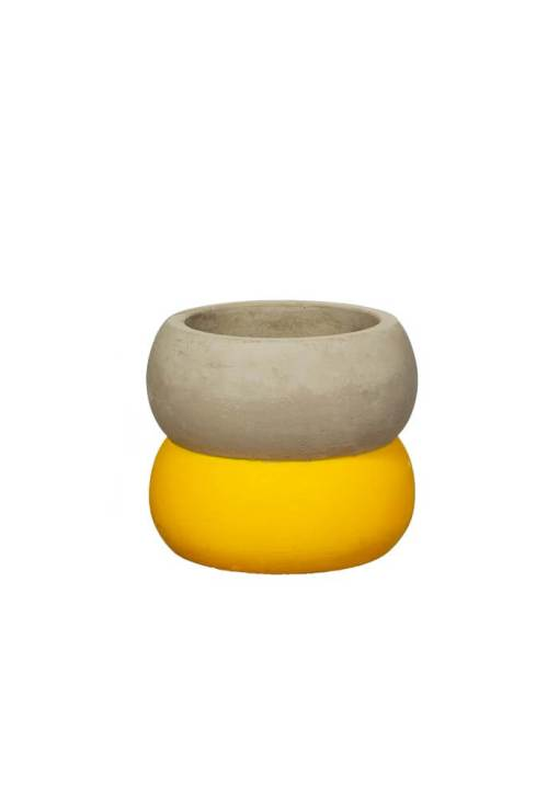 Sass & Belle - Colour Block Cement Mini Planter in Yellow