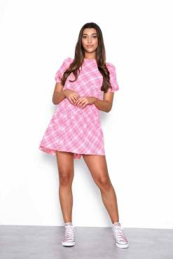 Glamorous - Pink Checked Tiered Smock Dress