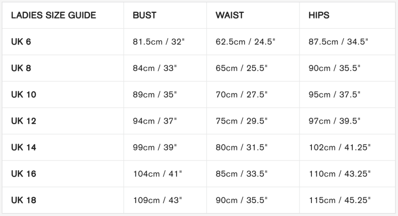 Sugarhill Brighton Size Guide