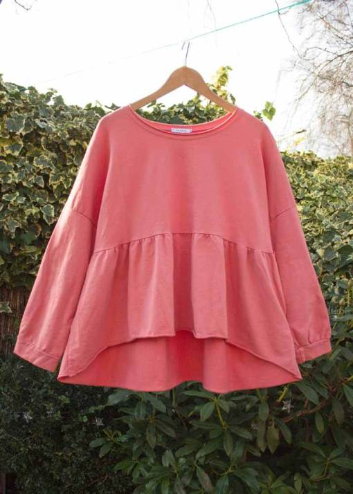 Thunder Egg - Oversized Coral Pink Frill Hem Sweater