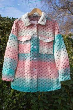 Thunder Egg - Mint & Pink Crochet Shacket