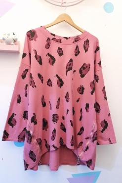 Thunder Egg - Oversized Pink Leopard Sweater