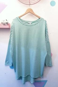 Thunder Egg - Turquoise Stripe Oversized Top
