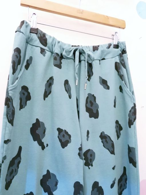 Thunder Egg - Teal Leopard Stretch Joggers