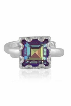 Big Metal London - Sienna Square Gem Adjustable Ring in Silver