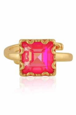 Big Metal London - Sienna Square Gem Adjustable Ring in Gold