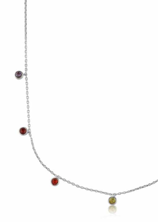 Big Metal London - Iris Rainbow Stones Delicate Necklace in Silver