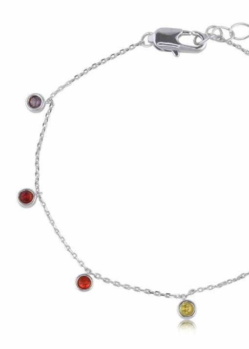 Big Metal London - Iris Rainbow Stones Delicate Bracelet in Silver