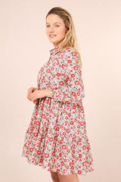 Daphnea - White Ditsy Floral Shirt Dress