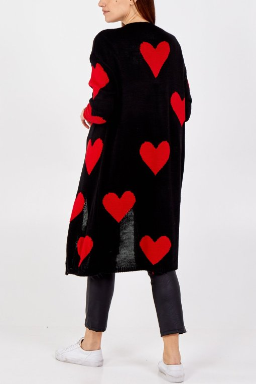Thunder Egg - Heart Knit Longline Cardigan