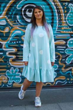 Thunder Egg - Aqua Polka Dot Frill Dress