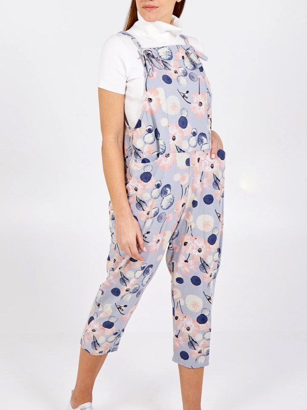 Thunder Egg - Lilac Flower Jersey Dungarees