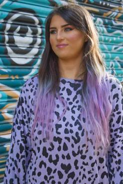 Thunder Egg - Lilac Leopard Oversized Top