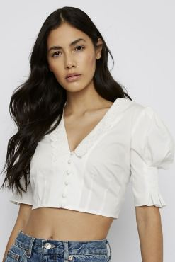 Glamorous - White Button Front Crop Shirt