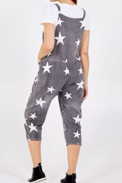 Thunder Egg - Charcoal Star Print Jersey Dungarees