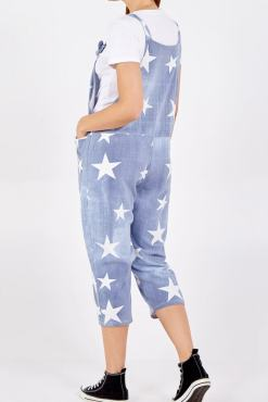 Thunder Egg - Light Denim Star Print Jersey Dungarees