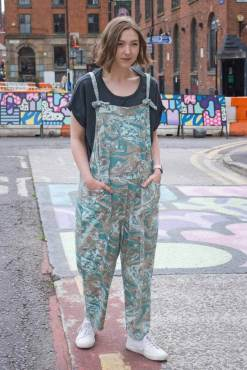 Thunder Egg - Teal Marble Jersey Dungarees