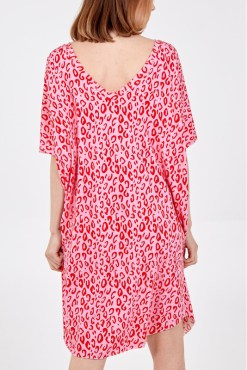 Thunder Egg - Pink and Red Digital Leopard Print T-Shirt Dress