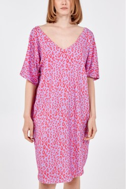 Thunder Egg - Purple and Pink Digital Leopard Print T-Shirt Dress