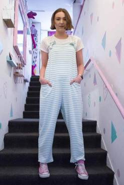 Thunder Egg - White & Mint Stripe Jersey Dungarees
