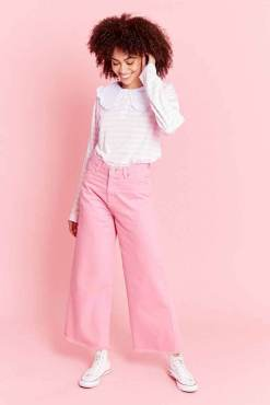 Thunder Egg - Bubblegum Pink Wide Leg Jeans