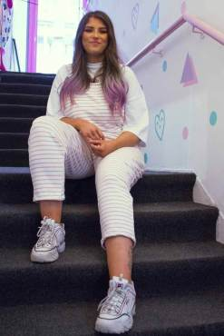 Thunder Egg - White & Pink Stripe Jersey Dungarees