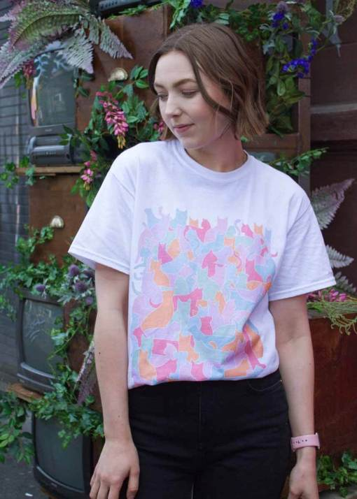 Home of Rainbows - Unisex Cat Club T-Shirt in White