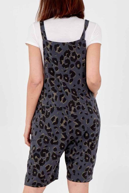 Thunder Egg- Charcoal Leopard Print Jersey Dungaree Shorts