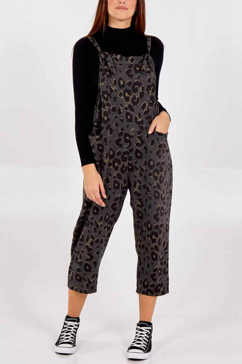 Thunder Egg - Charcoal Leopard Print Jersey Dungarees